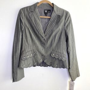 Worth Striped Button Front Scalloped Hem Jacket 10